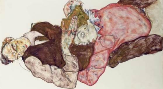 Egon Schiele Liebespaar, 1914/15  Bleistift, Aquarell und Deckfarbe auf Papier 47,4 x 30,5 cm Leopold Museum, Wien