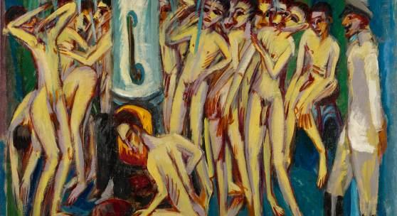 Ernst Ludwig Kirchner Das Soldatenbad (Artillerymen) Painted in 1915.