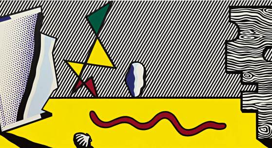 Lot 24 Property from an Important Private Collection  Roy Lichtenstein  Figures  signed and dated 77 on the reverse oil and Magna on canvas 44 by 100 in. 112 by 254 cm. Estimate $6/8 million