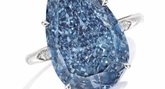 Lot 98 Property From A Distinguished Private European Collection A Highly Important Fancy Vivid Blue Diamond Ring Set with a pear-shaped Fancy Vivid blue diamond weighing 10.62 carats, VVS1 clarity Estimate $20/30 million