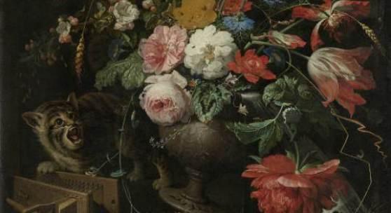 Abraham Mignon, The overturned banquet, c. 1660