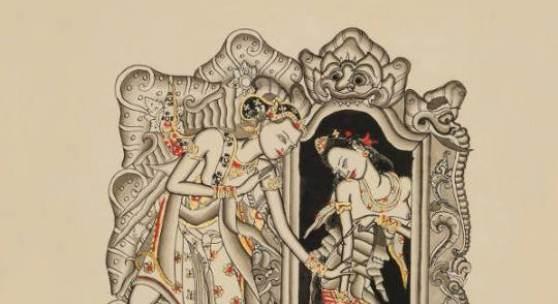 Illustrationen für das balinesische Märchen Ni Bawang und Ni Kesuna (2.1 MB) I Gusti Nyoman Lempad, Um 1935 Sammlung Helene Potjewyd, erworben 1946 Tusche, laviert, mit Gold und Rot gehöht; H. 280 mm, B. 210 mm © KHM mit MVK und ÖTM