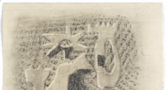 Gilgamesch, 1943 Blatt 3. Ein Drittel ist Mensch in Gilgamesch, zwei Drittel ist Gott. Voll Staunen und Furcht schauen die Bürger das Bild seines Leibes. Kohle, gewischt, radiert, Ölkreide in Schwarz, fixiert auf elfenbeinfarbenem Ingres-Bütten Leihgabe der Freunde der Staatsgalerie Stuttgart © VG Bild-Kunst, Bonn 2010