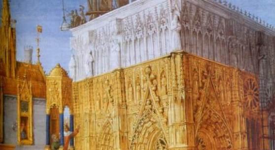 Construction d'une cathedrale - par Jean Fouquet 1470.