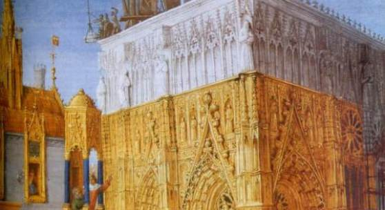 Construction d'une cathedrale - par Jean Fouquet 1470.