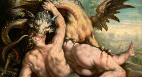 Der Drache tötet die Gefährten des Kadmos (1.7 MB) Adriaen van der Werff zugeschrieben Nach 1588 Kupfer, 16 x 22 cm © Kunsthistorisches Museum Wien Serapeumssphinx