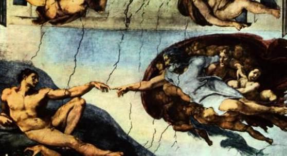 Deutsch: Deckenfresko zur Schöpfungsgeschichte in der Sixtinischen Kapelle, Hauptszene: Der Schöpfergott erschafft Adam.