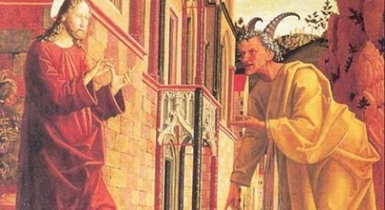 Michael Pacher um 1435 - 1498, Versuchung Jesu, Sankt Wolfgang im Salzkammergut. Bildnachweis: de.academic.ru