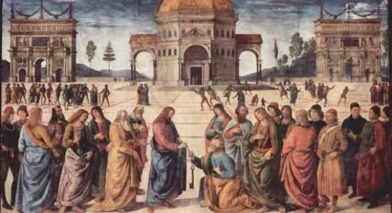 Pietro Perugino: Christus übergibt Petrus den Schlüssel zum Himmelreich (Fresken in der Sixtinischen Kapelle, 1480-1482), Bildmaterial: de.academic.ru