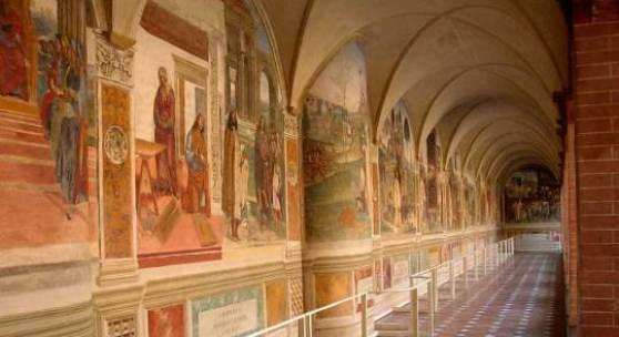 Abtei Monte Oliveto Maggiore. Davon wurden  neun Tafeln von Luca Signorelli (1497-98) erstellt; die übrigen 26 wurden von Sodoma (1504-1508) fertig gestellt. Bildnachweis: dietz-hh.de