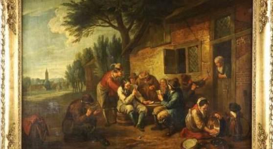 """Adriaen van Ostades stammende Bild """"Gruppe rauchender Kartenspieler vor einfachem Wirtshaus mit Ausblick auf ein Dorf im Hintergrund"""" verkauft (Limit 1.200 €)."""
