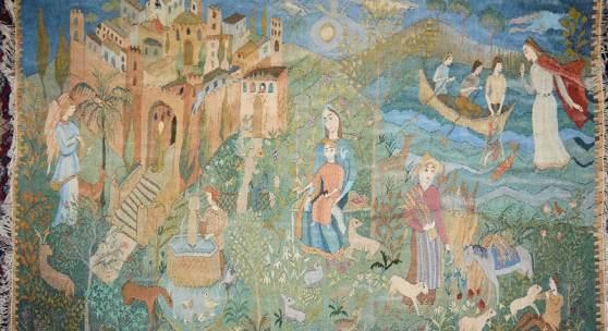 Los Nr. 229   A286 0229-Annemarie Schütt-Hennings, Wandteppich mit biblischen Visionen in Paradieslandschaft, signiert, um 1930/40 Limit: € 500 Taxe: € 1600-1800
