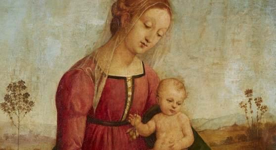 Lot 64 Italienischer Meister wohl des frühen 16. Jh. Madonna mit Kind in einer Landschaft Öl auf Holz, 51 x 34,5 cm
