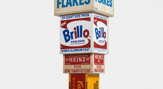 Tom Sachs, Figurative Tower, 2021. Synthetic polymer and pyrography on plywood. 75.25 x 21 x 21 in. © Tom Sachs. Photo: Genevieve Hanson.