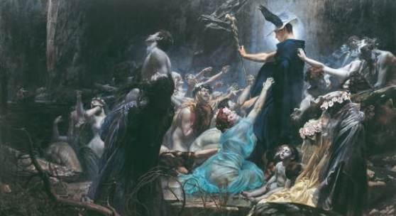 Adolf Hirémy-Hirschl (1860 Tamesvár, Rumänien – 1933 Rom), Die Seelen am Acheron, 1898, Öl/Leinwand, 215 x 340 cm, Belvedere, Wien, Inv. Nr. 942