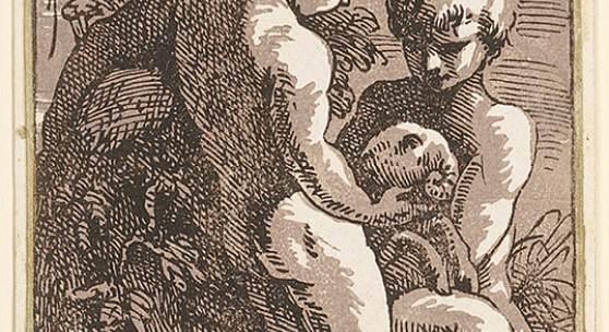 Anton Maria Zanetti (1680–1767), nach Francesco Parmigianino (1503 - 1540), wei Kinder mit einem Lamm (Christus und Johannes), 1725, Chiaroscuroschnitt von zwei Platten