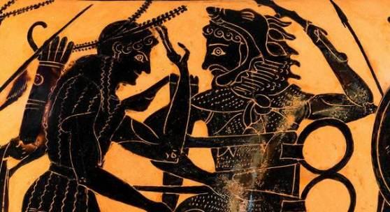 Herakles raubt den Dreifuß aus dem Heiligtum des Apollon in Delphi, Detail, Hydria der Leagros-Gruppe, Gruppe von Vatikan 424, attisch-schwarzfigurig, um 510–500 v. Chr., Sammlung Zimmermann Inv. 23, © Foto: Joachim Hiltmann