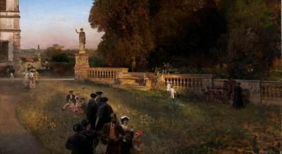 Oswald Achenbach 1827 – 1905), Im Park der Villa Borghese, 1886, Öl auf Leinwand, 122 x 152 cm, Stiftung Museum Kunstpalast Düsseldorf, Foto: Horst Kolberg, Düsseldorf