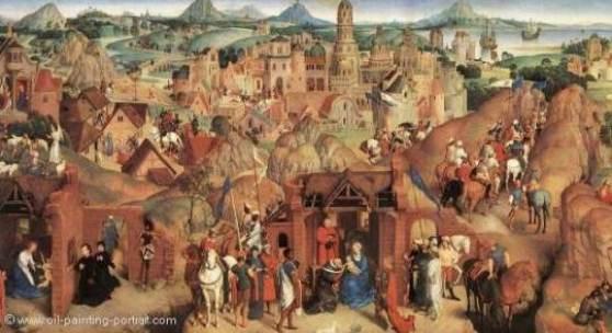 """Memling, Hans  Advent and Triumph of Christ Renaissance   Das Gemälde """"Advent and Triumph of Christ"""" von Hans Memling als hochwertige, handgemalte Ölgemälde-Replikation. Entstanden: 1480 Quelle: www.oel-bild.de"""