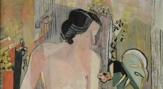 Oskar Moll (1875 — 1947): Akt mit Anemone, 1936, Öl auf Leinwand, 120 x 100 cm, Foto: S. Gergele, (c) VG Bild-Kunst, Bonn 2014