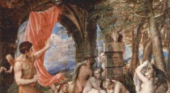 Tizian  Aktaion ueberrascht Diana beim Bade Renaissance   Diese Bilder-Vorlage Aktaion überrascht Diana beim Bade Von Tizian als hochwertiges, handgemaltes Gemälde. Wir malen Ihr Ölgemälde nach Ihrer Vorlage. Originalformat: 190,3 x 207 cm Entstanden: 1556-1559