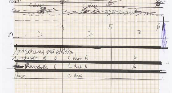 Hermann Nitsch, Partitur der 155. Aktion (Aktionssinfonie), 2018, 25 Blatt A4, Kugelschreiber, Filzstift auf Papier, Courtesy Galerie Elisabeth & Klaus Thoman Innsbruck/Vienna