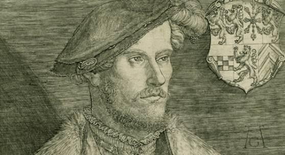 Heinrich Aldegrever, Porträt Herzog Wilhelm V. von Kleve-Jülich-Berg-Geldern (Detail), 1540, Kupferstich, Museum Zitadelle Jülich, Inv.-Nr. 1998-0572