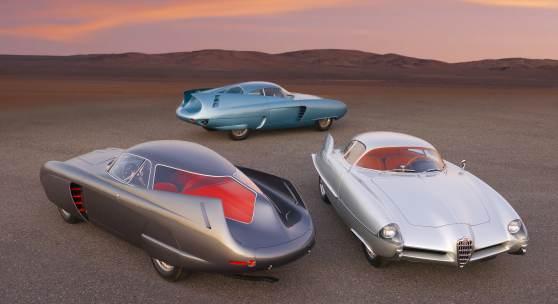 A group shot of the Alfa Romeo Berlina Aerodinamica Tecnica Concepts (Credit – Ron Kimball © 2020 Courtesy of RM Sotheby's)
