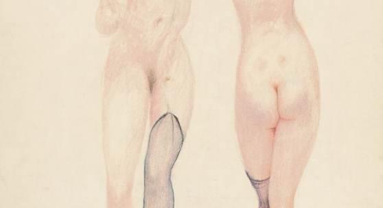 Alfons Walde, Zwei Damen beim Ausziehen, um 1919 Ölkreide, Buntstift und Bleistift auf Papier, 57,8 x 40,2 cm Provenienz: Direkt aus dem Nachlass Alfons Walde Foto: Galerie bei der Albertina · Zetter
