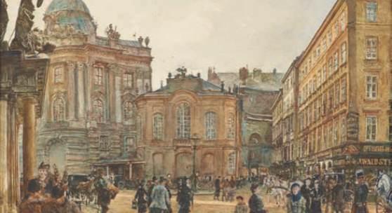 ALT, Rudolf 1812 – 1905, Das Alte Burgtheater am Michaelerplatz 1880,  € 50.000 – € 80.000,  Signiert, datiert links unten: R. Alt 1880