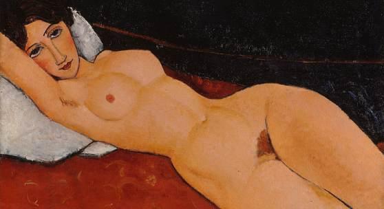 Amedeo Modigliani: Liegender Frauenakt auf weißem Kissen, ca. 1917 (Staatsgalerie Stuttgart)  © bpk, Staatsgalerie Stuttgart