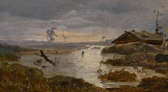Andreas Achenbach (1815 - 1910) Skandinavische Landschaft Öl aus Leinwand   Signiert und datiert unten links: Achenbach 1837