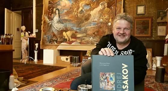 Andrej Kasakov in seinem Atelier zu seinem 60. Geburtstag, April 2020
