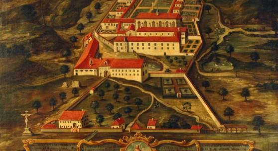 Ansicht der Freiburger Kartaus, Ölgemälde um 1740, Stift Klosterneuburg, Dauerleihgabe in der ehem Kartause Gaming (NÖ)