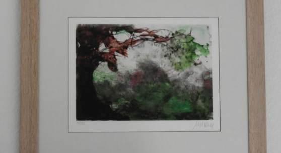 Bild 13: Armin Mueller-Stahl, Baum im Sturm; Giclée Print, 2019; Ex.:82/180; 45&35 cm. 280 €, mit Rahmen, Passepartout und Mirogardglas 355 €.
