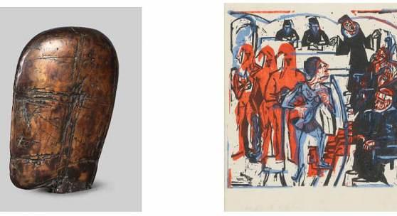 """Michael Croissant, """"Kopf"""" Bronze (links), Ernst Ludwig Kirchner, """"Gerichtsszene"""" (rechts)"""