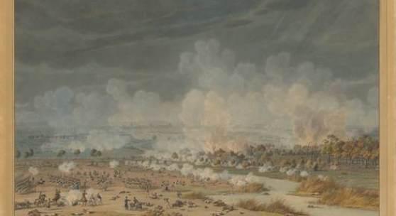 Wilhelm von Kobell, Die Schlacht bei Hanau am 30.Oktober 1813  Aquarell über Graphitstift, 580 x 889 mm  © Staatliche Graphische Sammlung München