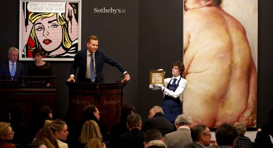 Sotheby's Auctioneer Oliver Barker fields bids at Sotheby's Evening Sale of Contemporary Art on March 5 2019