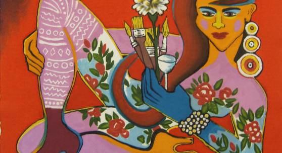 Elvira Bach | La Vie en rose | 64 x 50 cm | Prägedruck