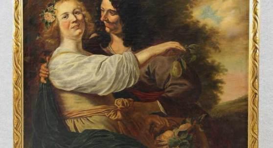 Baen, Jan de (Haarlem 1633 - 1702 Den Haag) attr.  Gemälde, Öl auf Leinwand, galantes Paar in Landschaft, die Frau... Mindestpreis:2.500 EUR