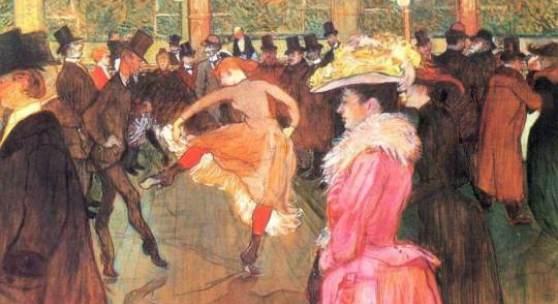 """Das Gemälde """"Ball im Moulin Rouge"""" von Henri de Toulouse Lautrec als hochwertige, handgemalte Ölgemälde-Replikation."""