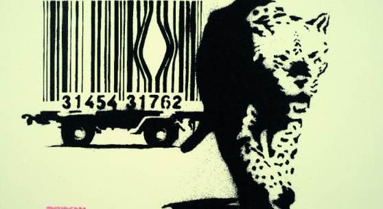 BANKSY, Barcode Leopard, 2004, sérigraphie, 50 x 70 cm, estimate : 80 000–90 000 HK$ / 9 300–11 600 € / 10 300–12 900 $ (c) Artcurial
