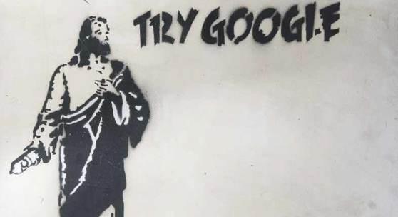 Banksy (Bristol 1974) Try Google Graffiti/Metall, 75 x 75 cm, r. u. sign. Banksy, Kratzer, unter Glas gerahmt, ungeöffnet. Mindestpreis:20.000 EUR