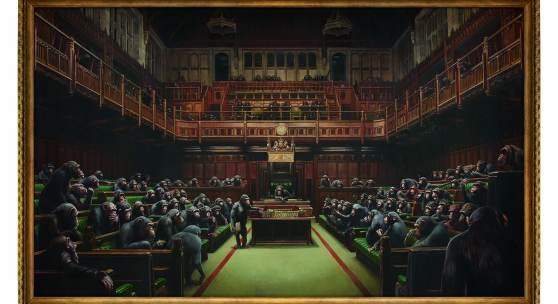 Sotheby's Contemporary Art Evening Sale  London | 03 October 2019   Image Caption  Banksy Devolved Parliament 2009 Oil on canvas 267 x 446 cm  Estimate: £1.5-2 million