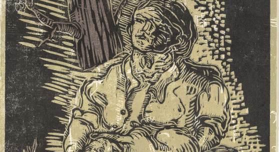 Georg Baselitz, o. T., 1967 Farbholzschnitt von 3 Stöcken, 38 x 31,5 cm, SKD, Stiftung Günther und Annemarie Gercken  © Georg Baselitz 2018, Foto: Andreas Diesend