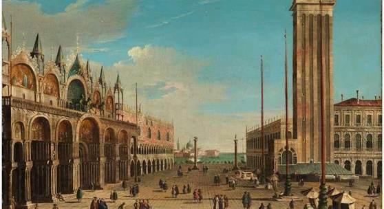 """Bernardo Bellotto, genannt """"Canaletto"""", 1721 Venedig """""""" 1780, zug. Warschau VEDUTE DER PIAZZA SAN MARCO IN VENEDIG MIT DOGENPALAST UND CAMPANILE Öl auf Leinwand. Doubliert. 52,5 x 68 cm. Schätzpreis:200.000 - 400.000 EUR"""