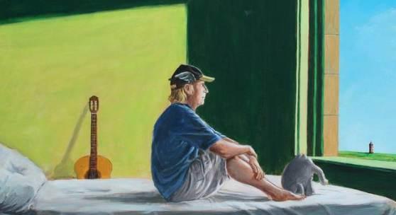 Otto Waalkes nach Edward Hopper, Sitting in the Morning Sun, 2018, Acryl auf Leinwand, 60 x 90 cm, Leihgabe der Walentowski Galerien, © Otto Waalkes