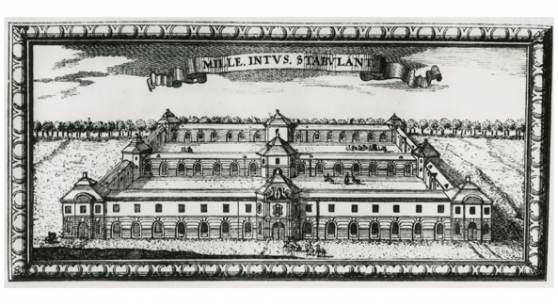 Sitz der Akademie im Neuen Marstall in der Dorotheenstadt, um 1700, unbekannter Künstler. Foto: Akademie der Künste, Berlin, Archiv