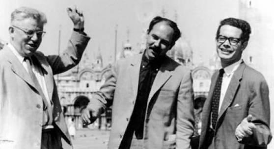 Viktor Matejka, Adolf Frohner und Kristian Sotriffer in Venedig 1964; © Archiv Fam. Frohner