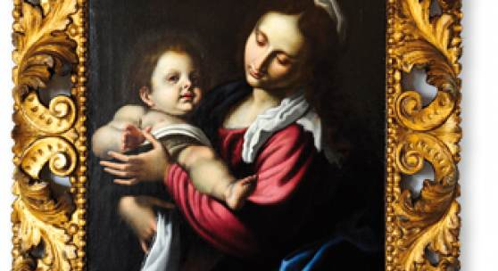 Madonna mit Kind Lodovico da Cigoli Cardi (1559 - 1613), Maler und Architekt, Italien, etwa 1610, alte Rahmung, rückseitig alte Auktionsnummer (Christies, London 1970'er Jahre) Wieland Axel, Stand Nr. 09